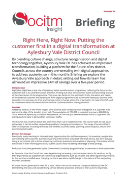Briefing 93: Right Here, Right Now: Putting the customer first in a digital transformation at Aylesbury Vale District Council