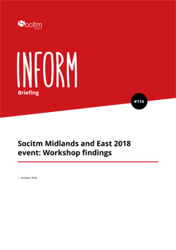 Front cover for Briefing 114 - Midlands and East event workshop write up
