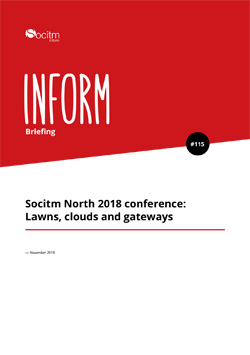 Front cover for Briefing 115 - Socitm North 2018 conference - Lawns, clouds and gateways