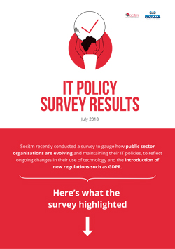 Front cover for  IT policy survey results - infographic