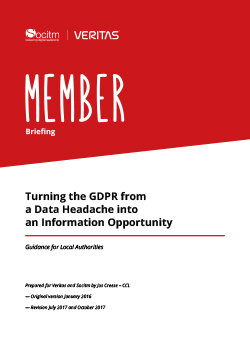 Front cover for Member Briefing - Turning the GDPR from a Data Headache into an Information Opportunity
