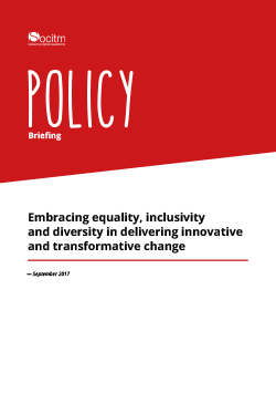 Front cover for Policy Briefing - Embracing equality, inclusivity and diversity in delivering innovative and transformative change