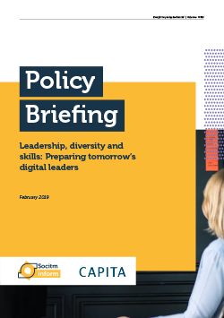 Front cover for Policy Briefing - Leadership, diversity and skills: Preparing tomorrow's digital leaders