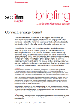 Topical Briefing 86: Connect, engage, benefit