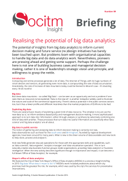 Topical Briefing 89: Realising the potential of big data analytics