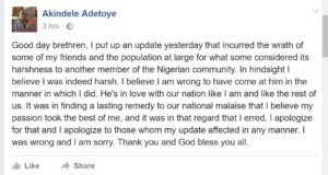 Prof. Adetoye apologises to 2Baba