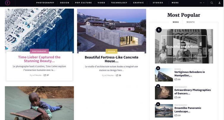 Fubiz Media utilizza la sidebar laterale per metter in evidenza i post più letti della settimana e del mese