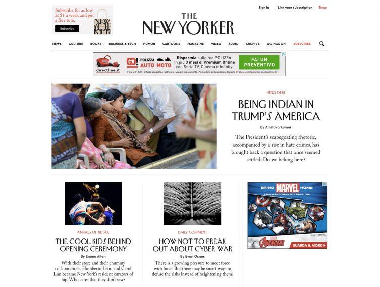 Anche tra le colonne del New Yorker i banner trovano spazio nella sidebar destra
