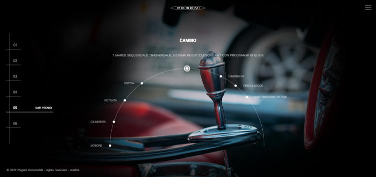 specifiche sito corporate Pagani Automobili