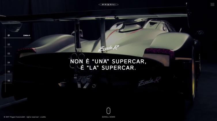 snap scroll verticale per il nuovo sito di Pagani Automobili