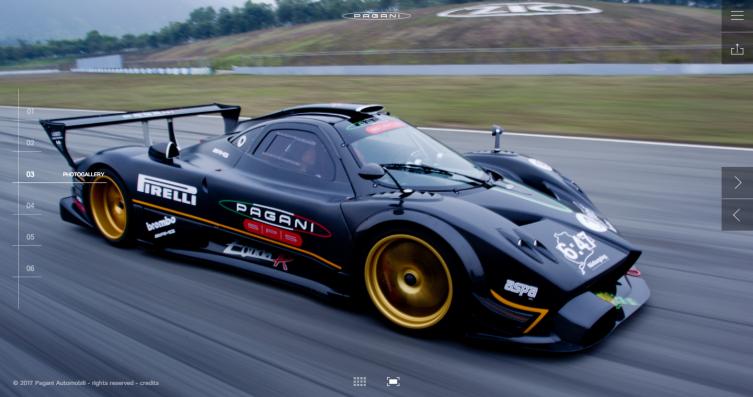 online nuovo sito Pagani Automobili
