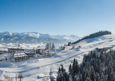 Aerial Panorama - Allgäuer Berghof mit der neuen Kabinen Bahn - GO-Ofterschwang