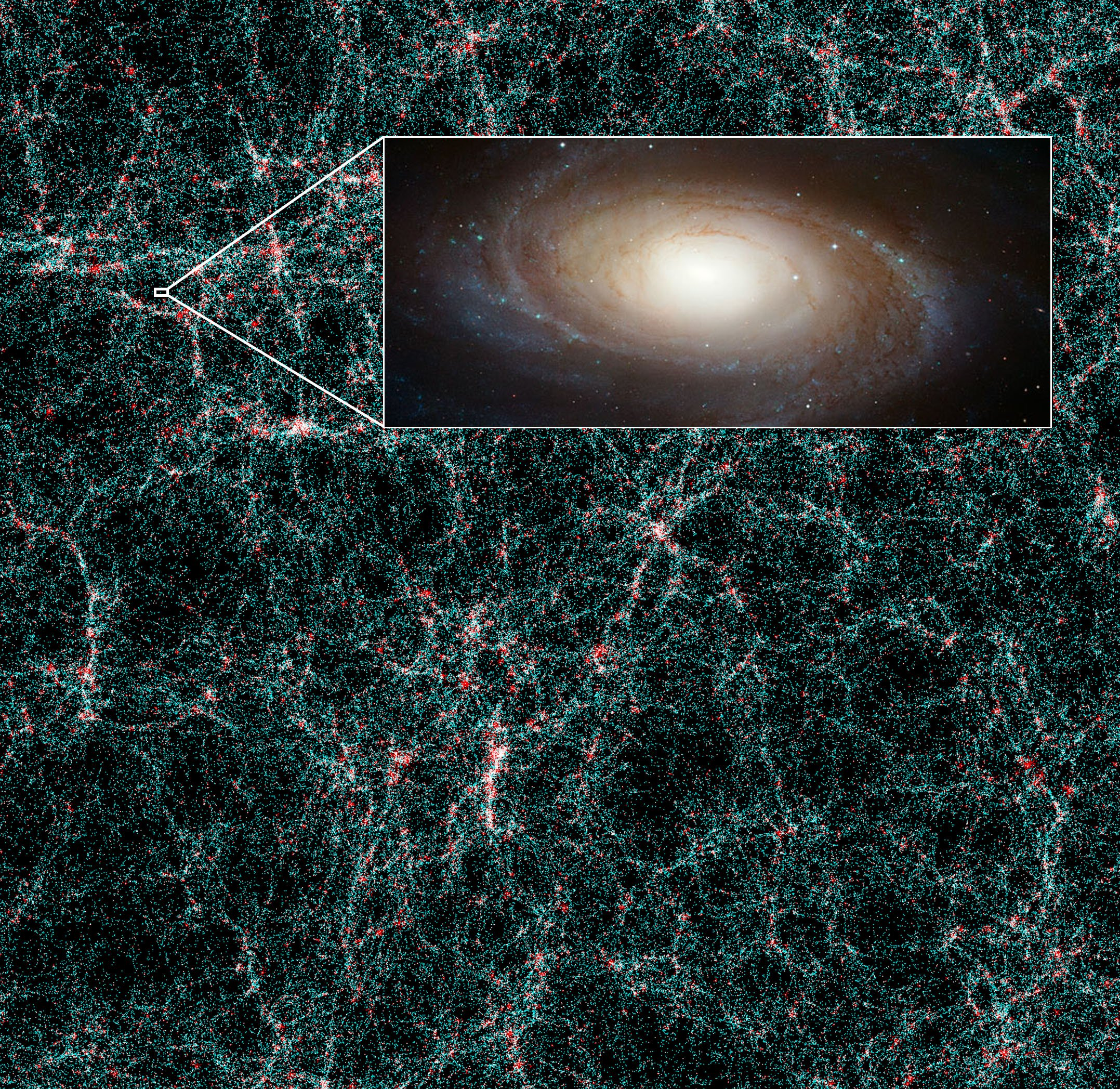 "A picture depicting of billions of galaxies, each represented by a single dot in the image, which consists mostly of a green background that has a web-like structure, full of these dots. On the top-right corner of the image there's a rectangle ""zooming in"" on one of the dots, where a galaxy can be seen in more detail."