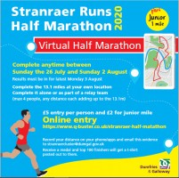 Stranraer Virtual Half Marathon 26th July till 2nd August