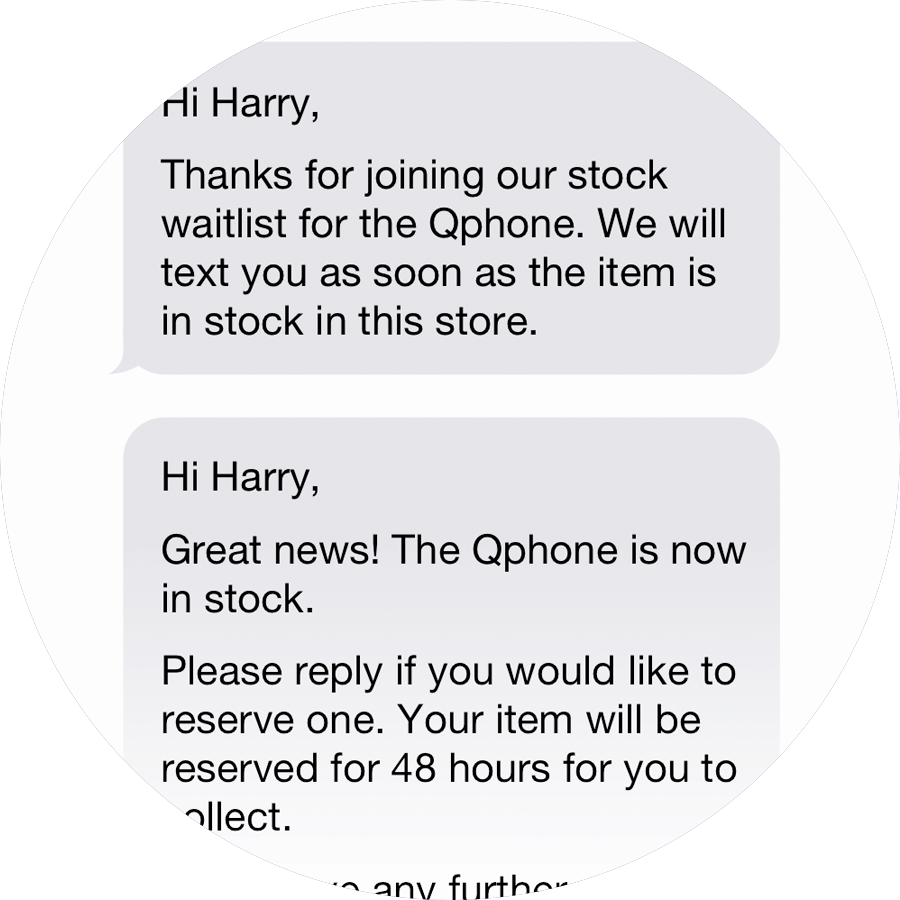 Text Customers When Requested Stock Becomes Available Qudini