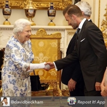 Repost from @davidbeckham using @RepostRegramApp - I was so honored to meet The Queen and some inspiring young people yesterday at Buckingham Palace . @queensyoungleaders is an important initiative that celebrates & acknowledges the work of young people throughout the Commonwealth .. So proud to support.. On a personal note I miss my Nan & Grandad everyday and I know how proud they would of been of this picture of there grandson and Her Majesty ...