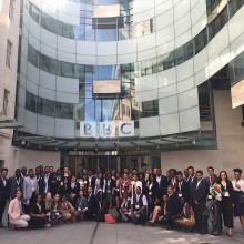 The #QueensYoungLeaders have arrived at @bbc and @bbcworldservice ready for a morning of media training and interviews #leadership #youth #news #bbc