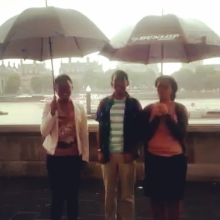 The #QueensYoungLeaders are getting used to some typical British weather! #rainyday