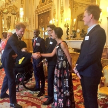 HRH Prince Harry greets @itsanitarani @caspar_lee and @gomofarah before giving at speech to the #QueensYoungLeaders