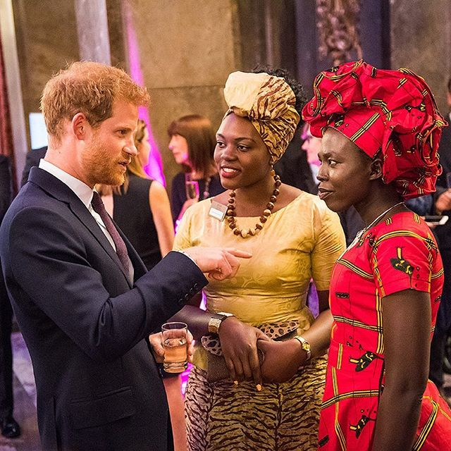 HRH Prince Harry speaks to two of the 2017 Queen's Young Leaders about their projects
