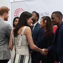 Prince Harry and Ms. Markle met with #QueensYoungLeaders at the final day of #CHOGM18 #YouthForum #PrinceHarry