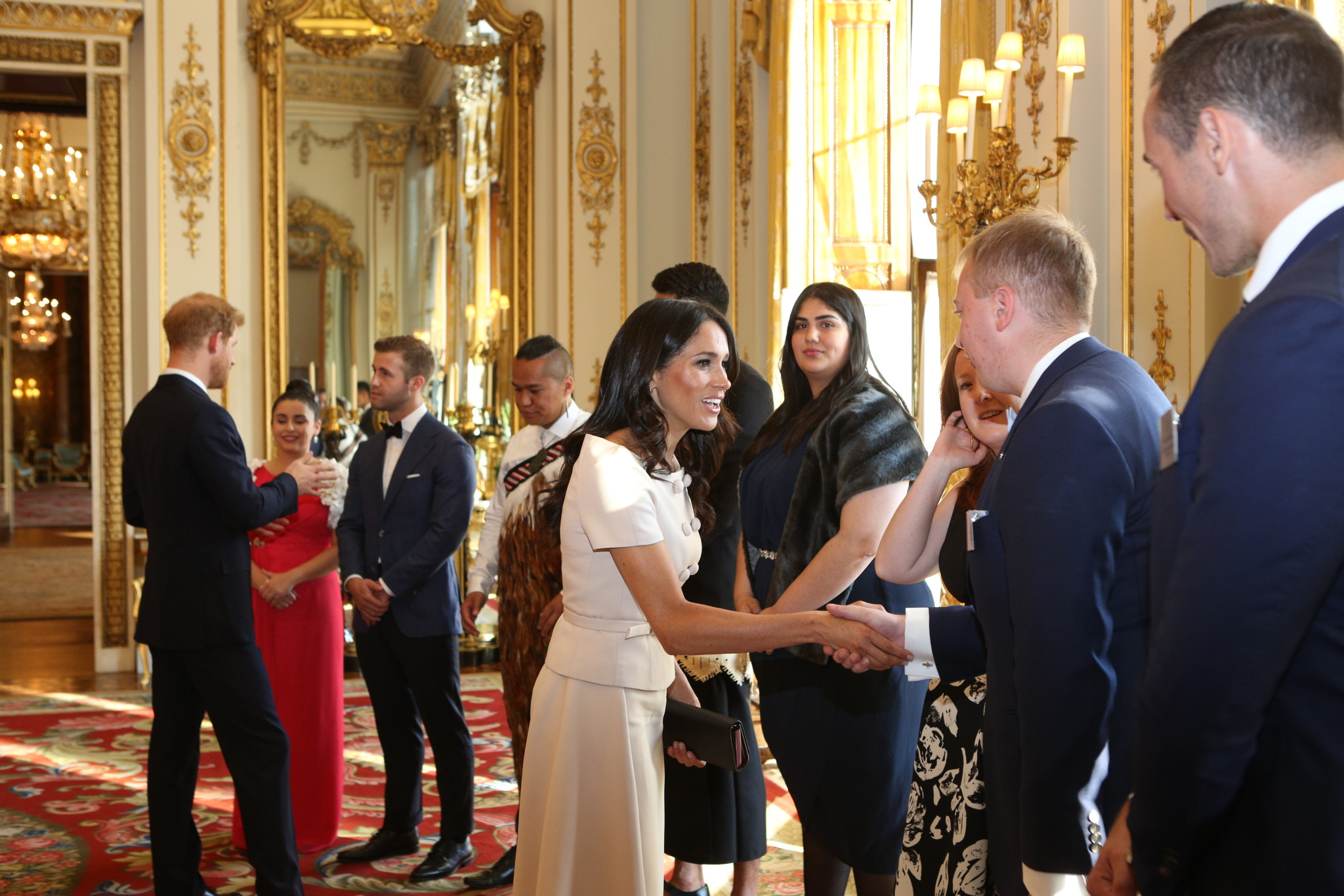 Her Majesty The Queen presents Awards to the 2018 Queen's Young Leaders Award winners at Buckingham Palace. Their Royal Highnesses The Duke and Duchess Of Sussex and The Rt Hon Sir John Major KG CH, Chairman of The Queen Elizabeth Diamond Jubilee Trust also joined The Award winners to congratulate them on their remarkable achievements. Guests at the ceremony include Sir John Major, David Beckham OBE, Sir Lenny Henry CBE, Nicola Adams OBE, Neelam Gill, Caspar Lee, Tina Daheley, Emma Gannon and Ore Oduba.