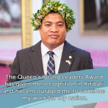 2016 Queen's Young Leader Tabotabo Auatabu on the recognition the Award has given him #queensyoungleaders #QYLLEGACY