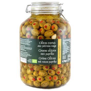 Olijven groen m. paprika in kruidenolie (4.7kg)