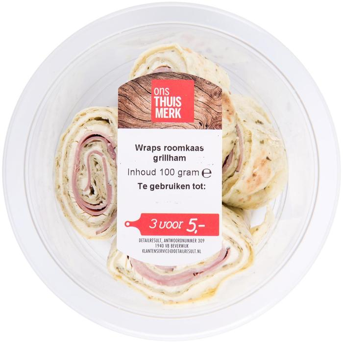 Wraps roomkaas grillham (100g)