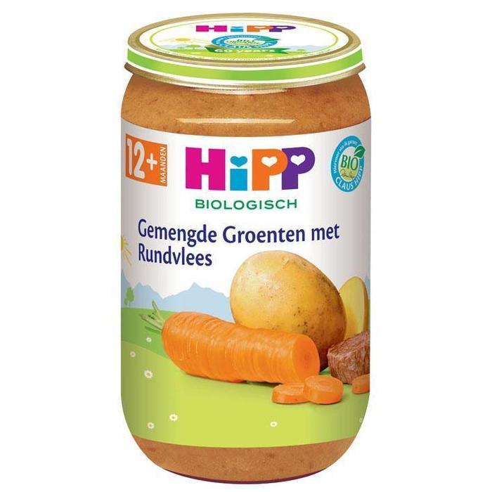 HiPP Biologisch Gemengde Groenten met Rundvlees 12+ Maanden 250 g (Stuk, 250g)