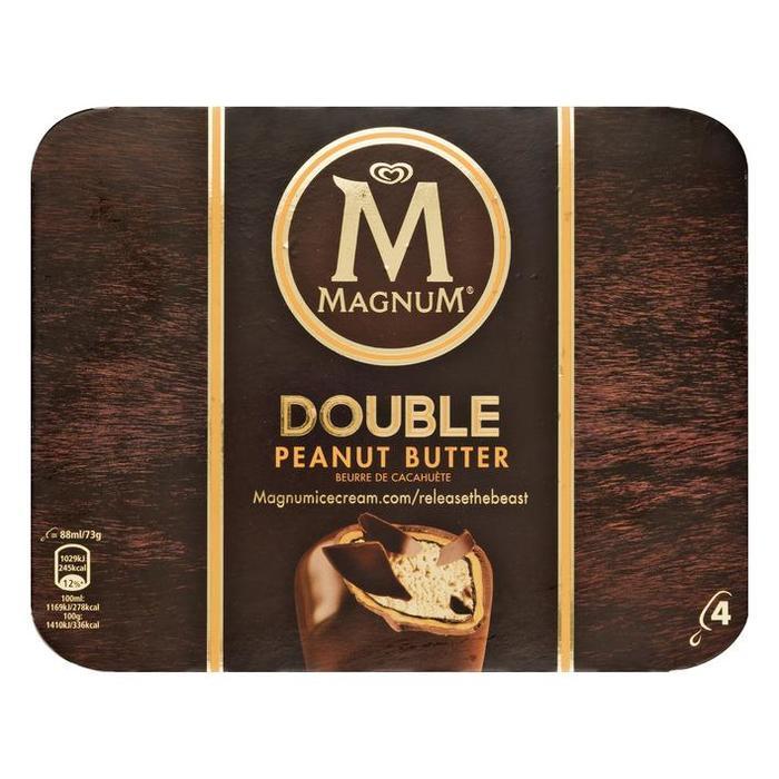 Magnum double peanutbutter 4 stuks (Stuk, 4 × 35.2cl)