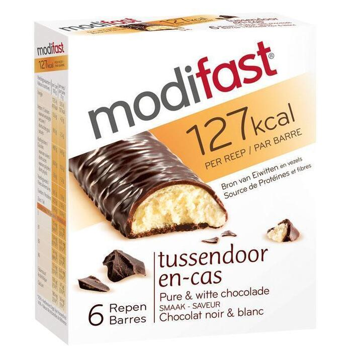 Modifast Snackrepen pure en witte chocolade (6 × 31g)