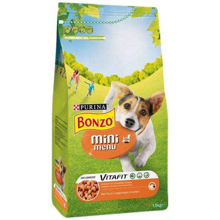Bonzo Vitafit Mini Menu met Kip en Toegevoegde Groenten 1, 5kg (Stuk, 1.5kg)