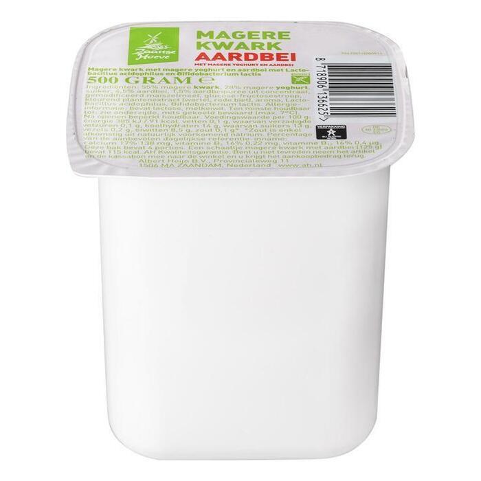 De Zaanse Hoeve Magere kwark met yoghurt aardbei (500g)