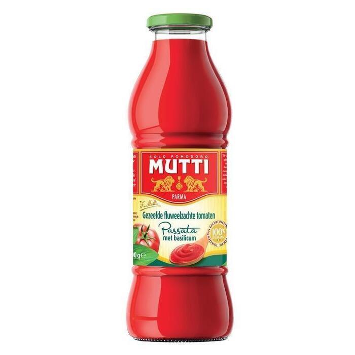 Mutti Passata gezeefde tomaten basilicum (0.72L)