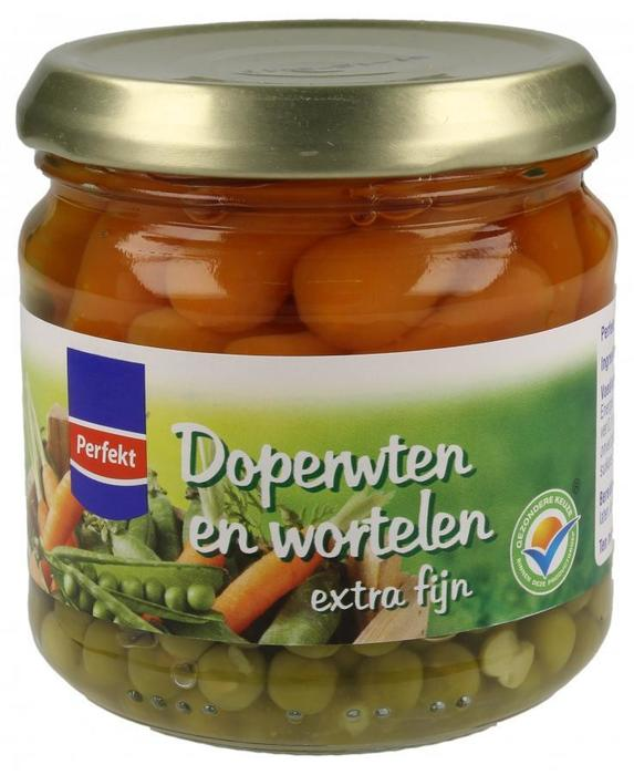 Doperwten en Wortelen extra fijn (pot, 180g)