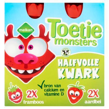 Toetiemonsters Halfvolle Kwark Framboos en Aardbei 4 x 90 g (4 × 360g)