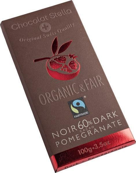 Chocolat Stella Pomegranate 60% cacao (wikkel, 100g)