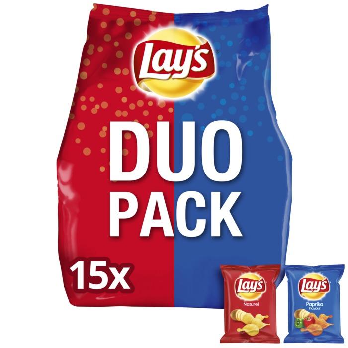 Duopack Naturel & Paprika chipsk (zakjes, 15 × 27.5g)