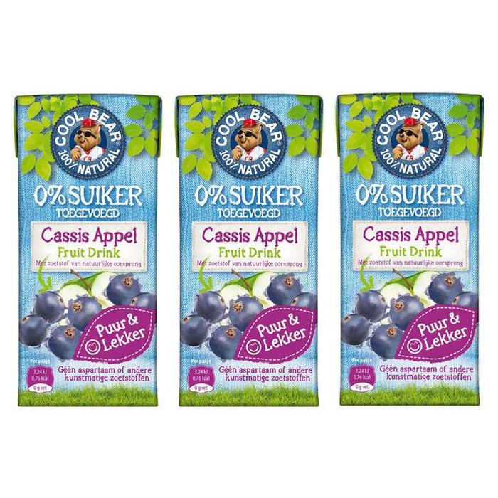 Cool Bear Fruitdrink cassis-appel (3 × 0.6L)