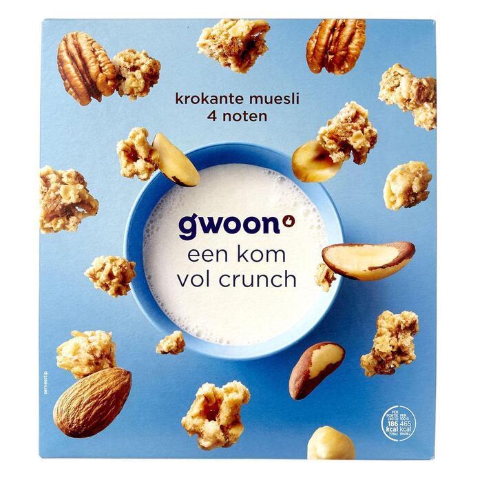 g'woon Krokante muesli 4 noten (500g)