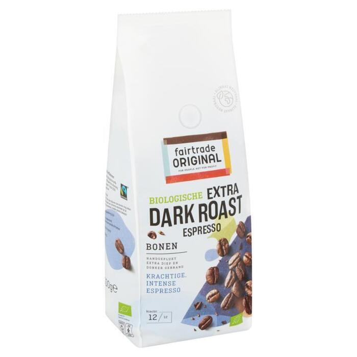 Fair Trade Original Biologisch Extra Dark Roast Espresso Bonen 500g (zak, 500g)
