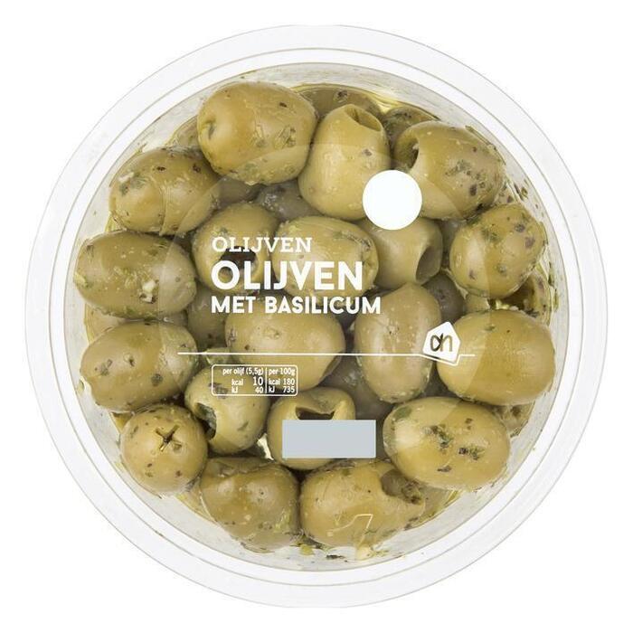 Olijven met Basilicum (bakje, 165g)