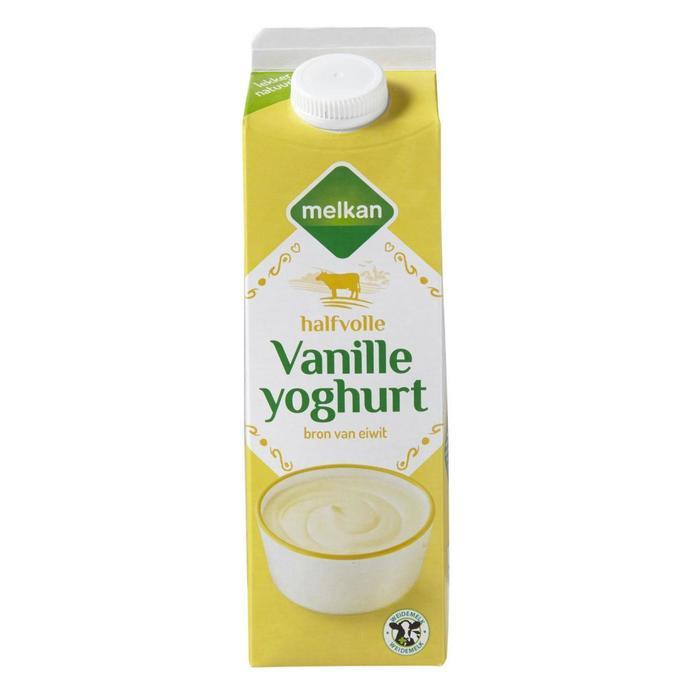 Melkan Halfvolle vanille yoghurt (1L)