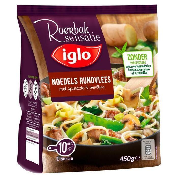 Iglo Roerbak sensatie noedels rundvlees spinazie & peultjes (450g)
