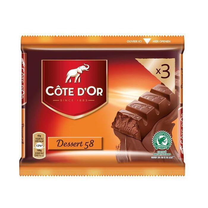 Cöte d'Or Reep dessert 58 (3 × 45g)