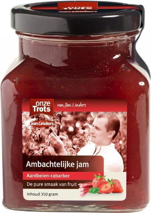 Onze Trots Jam ambachtelijk aardbeien & rabarber (350g)