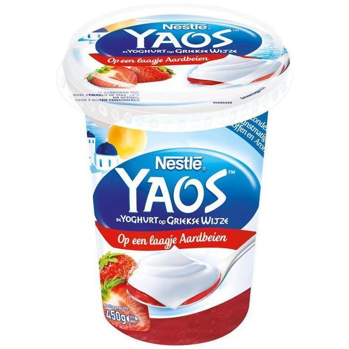 Nestlé Greek style yoghurt op laagje aardbeien (450g)