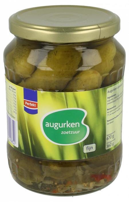 Zoetzure Augurken Fijn (pot, 670g)