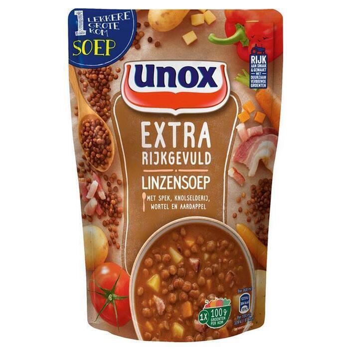 Unox Extra Rijkgevuld Linzensoep 368 ml (Stuk, 36.8cl)